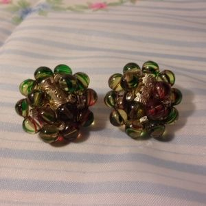 Green Red Striped Bead Cluster Clip Earrings Japan